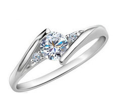Silver Plated CZ Diamond Jewelry Wedding Rings