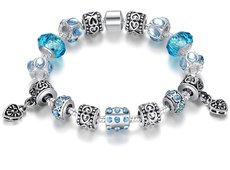 Blue Murano Glass Beads Silver Crystal Charm Bracelet