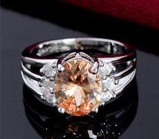 Oval Simulated Diamond Ring