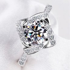 925 Silver Wedding Love CZ Diamond Ring