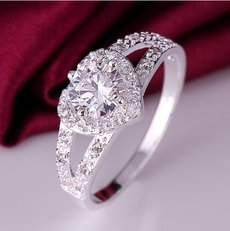 Heart White Zircon 925 Silver Ring