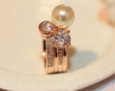 925 Sterling Silver Natural Pearl CZ Diamond Ring