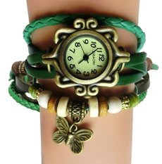Antique Leather Butterfly Bracelet Watch