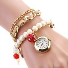Casual Pearl Anchor Bracelet Watch