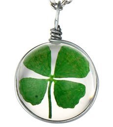 Round Crystal Glass Clover Wish Pendant